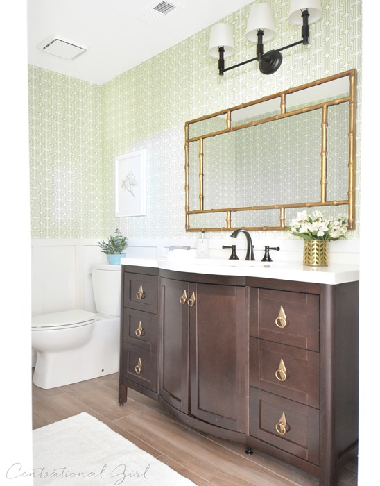 green and gold bathroom