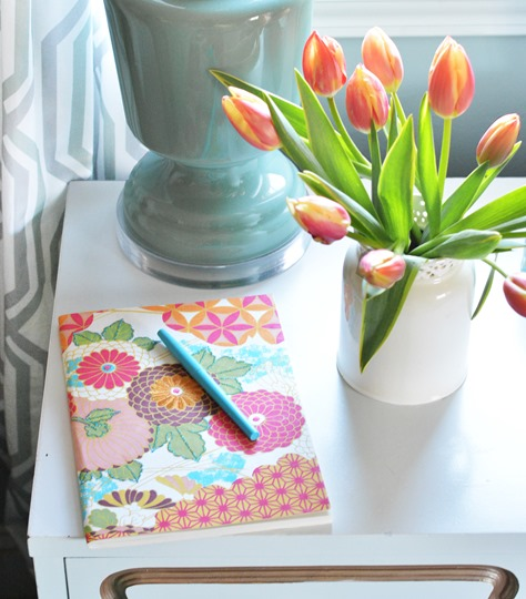 journal and tulips