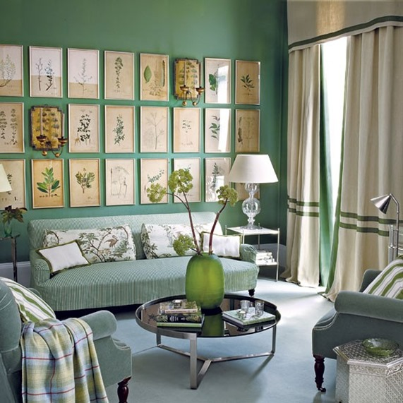 layered green living room