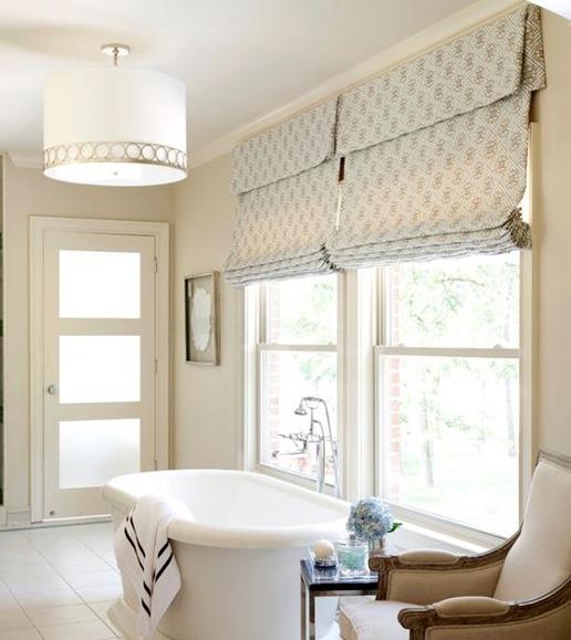 roman shade over tub