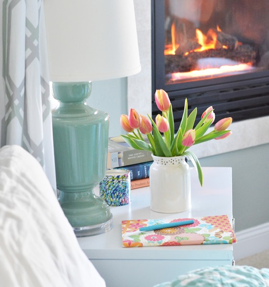 tulips on nightstand