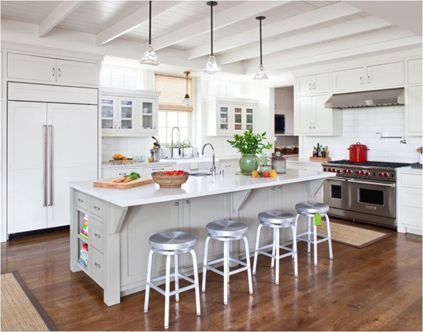 white kitchen wood floors plank ceiling with beams