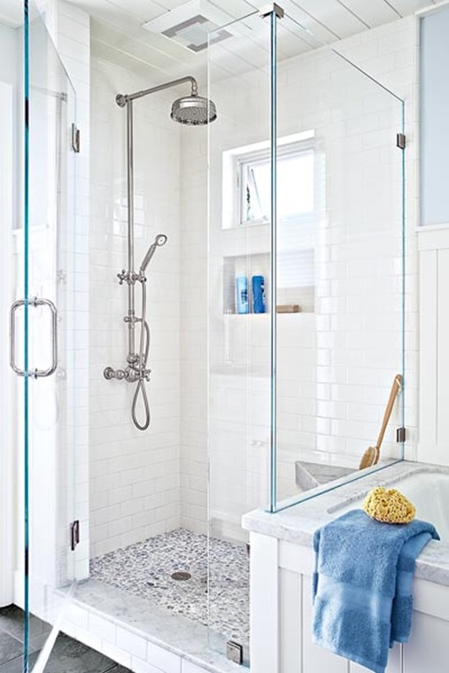 white shower chrome fixtures