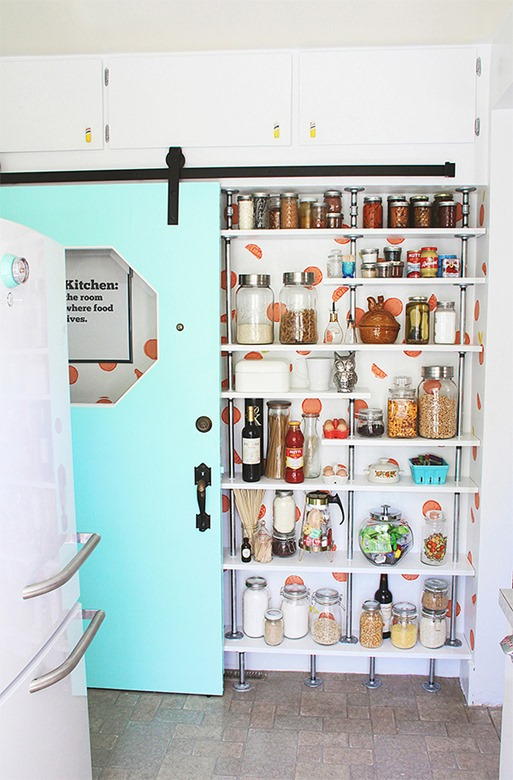 aqua barn door pantry shelves