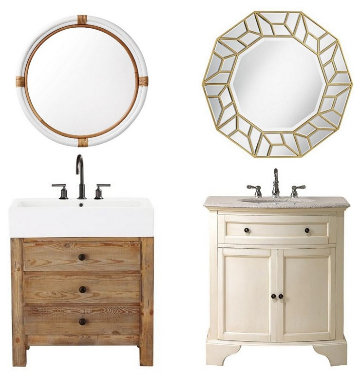 Wood Vanity Rattan Mirror Hamilton Vanity Faceted Gold Mirror