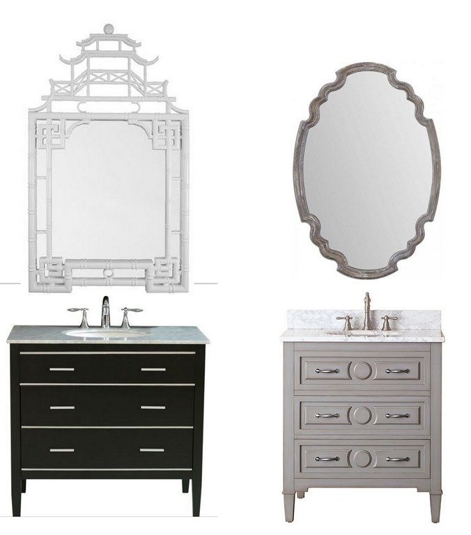 vanity / chippendale mirror / gray blue vanity / scalloped wood mirror