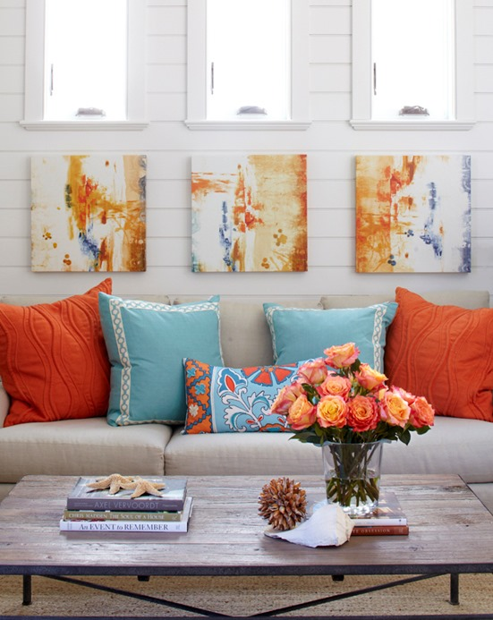 blue and orange pillows tracery interiors