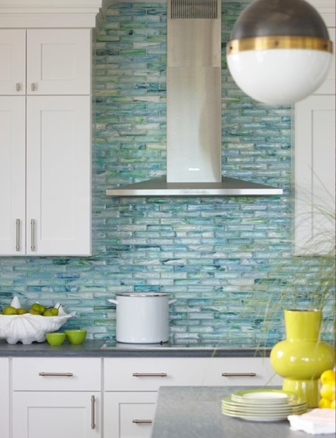 blue glass tile backsplash stainless chimney hood