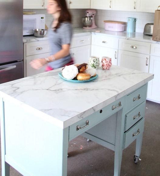diy desk to kitchen island