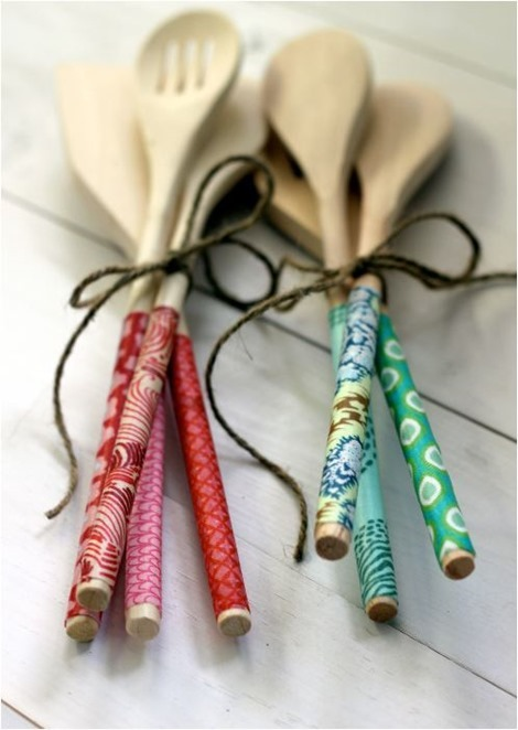 fabric covered wooden spoons