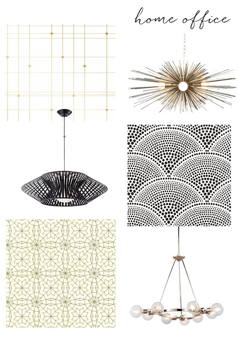 home office wallpaper and fixtures