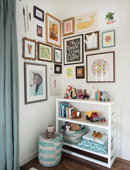 kid's room art gallery wall