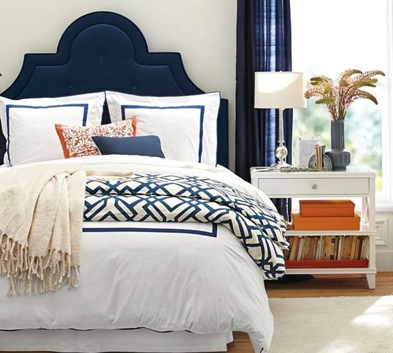 orange and navy bedroom