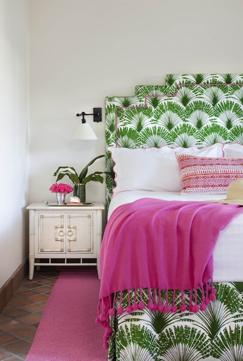 palm print headboard pink accents