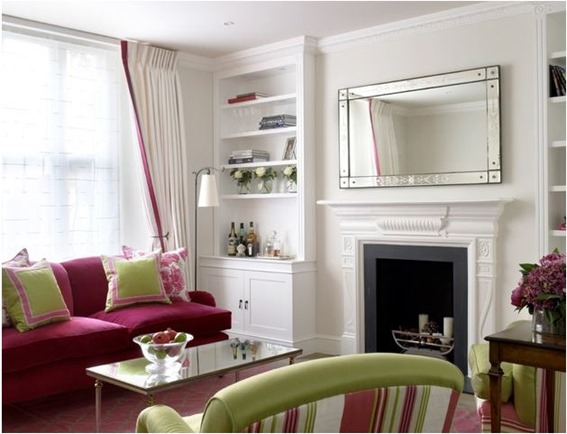 pink sofa green accents