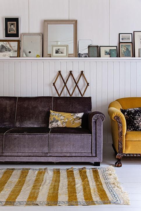 plum sofa mustard accents