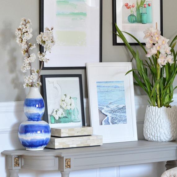 art prints and vase