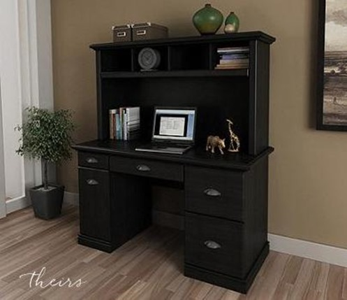 black desk and hutch
