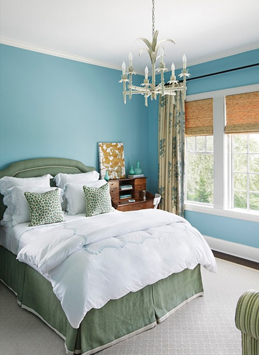 blue and green bedroom