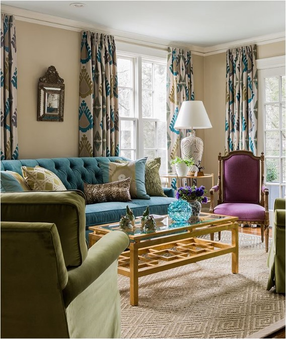 blue green violet living room