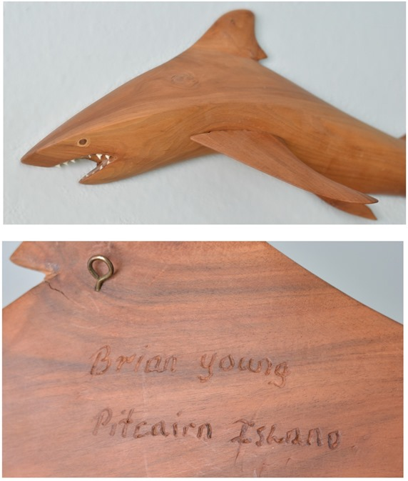 carved wood shark