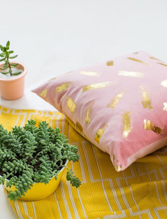 gold foil brushstroke pillow