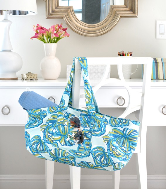 marine blue floral diy tote bag