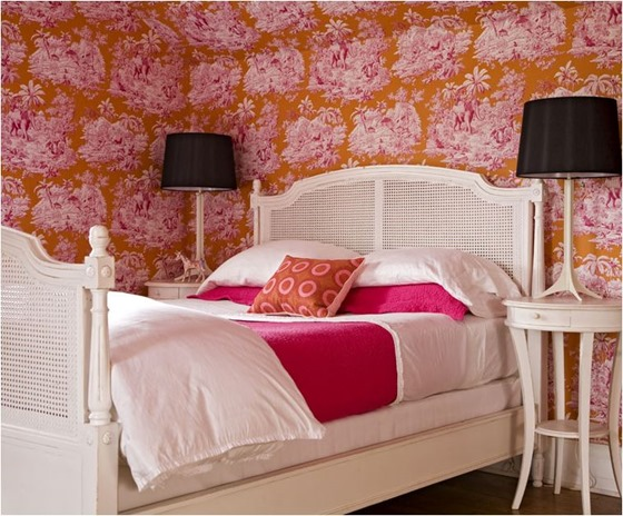 pink and orange bedroom