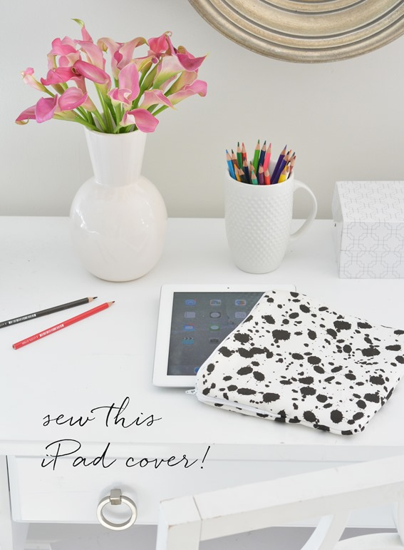 sew ipad cover splatter pattern