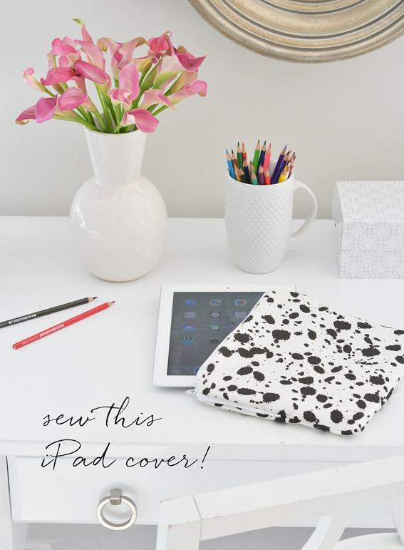 sew ipad cover splatter pattern