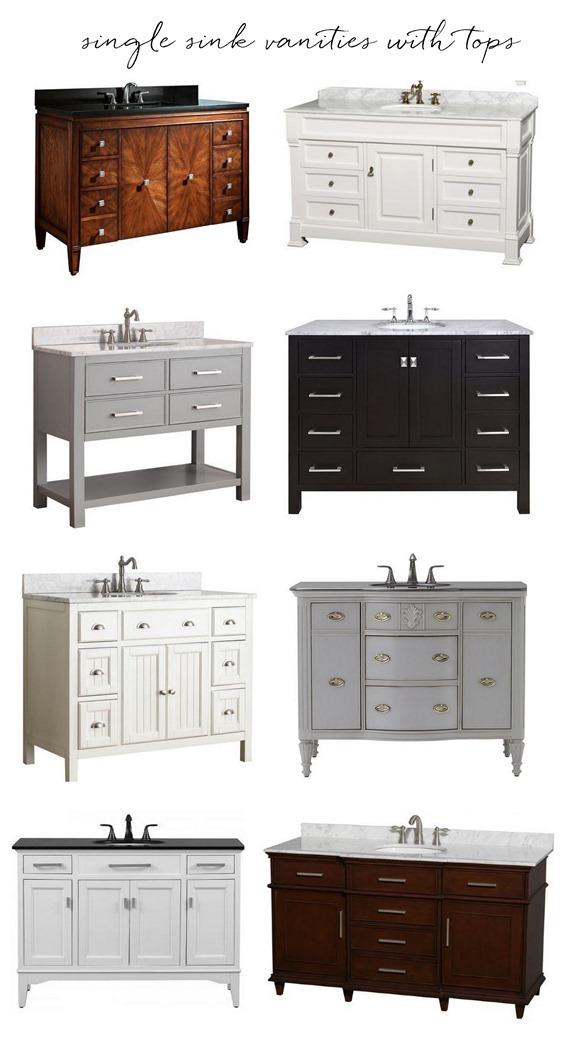 single sink vanities with tops