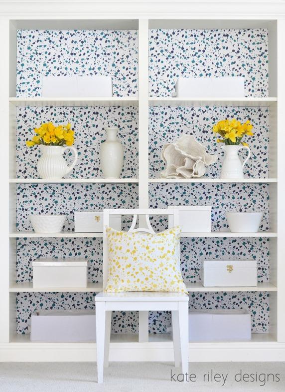 splatter bookcases kate riley designs