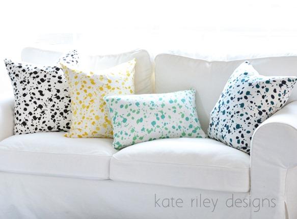 splatter pillows kate riley designs