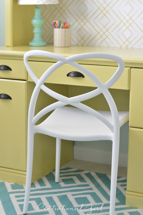 white open back desk chair