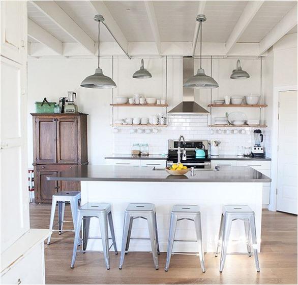 hanging shelves in kitchen