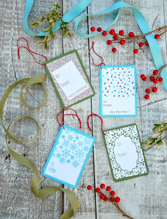 holiday gift tags on white trunk