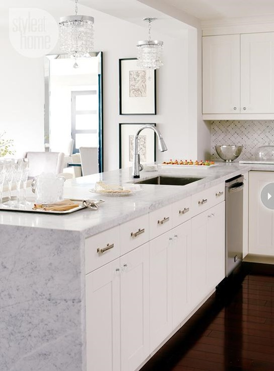 marble waterfall countertop edge