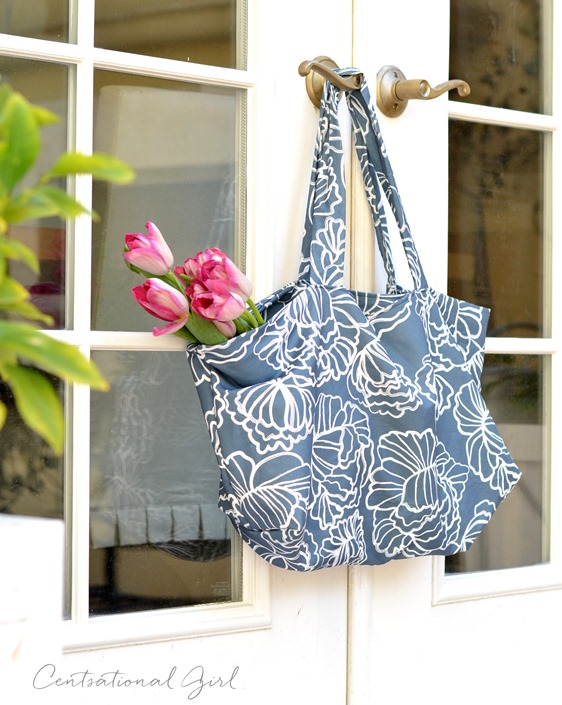 navy peonies fabric tote bag
