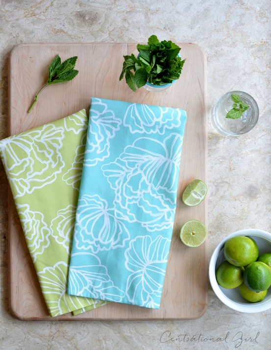 peonies tea towels