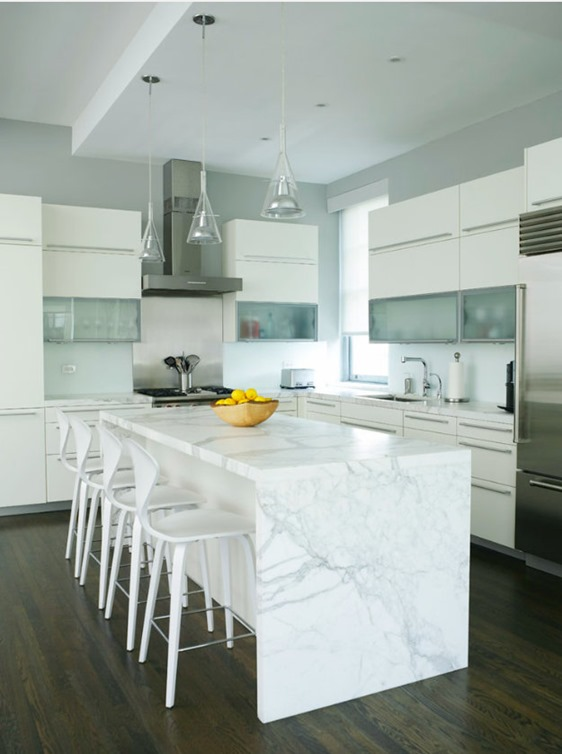 waterfall edge island marble countertop