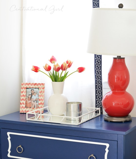white tray on navy nightstand