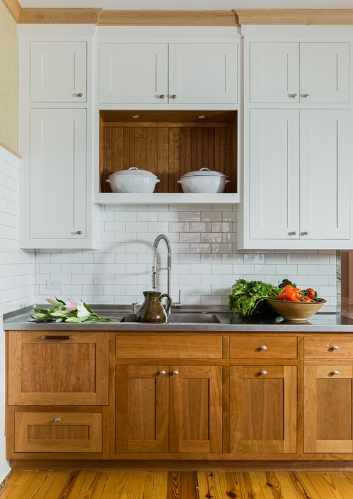 wood and white farmhouse kitchen