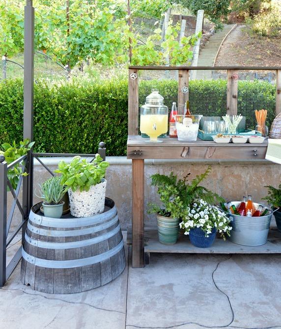 beverage bar wine barrel side table