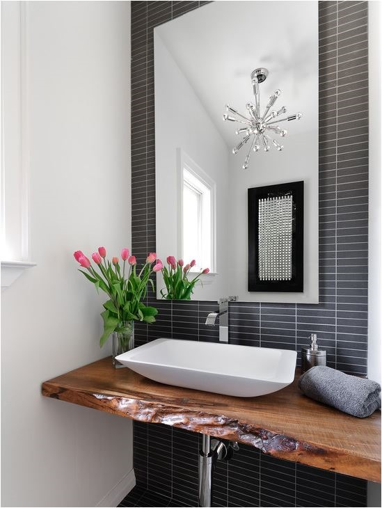 black and white bathroom wood floating vanity