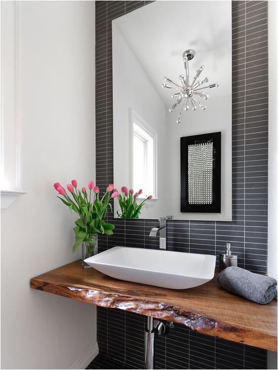 black and white bathroom wood floating vanity