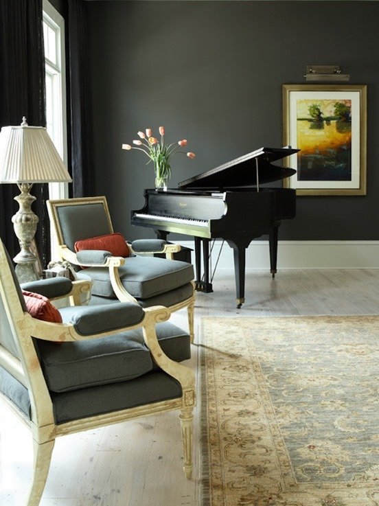 black piano gray chairs