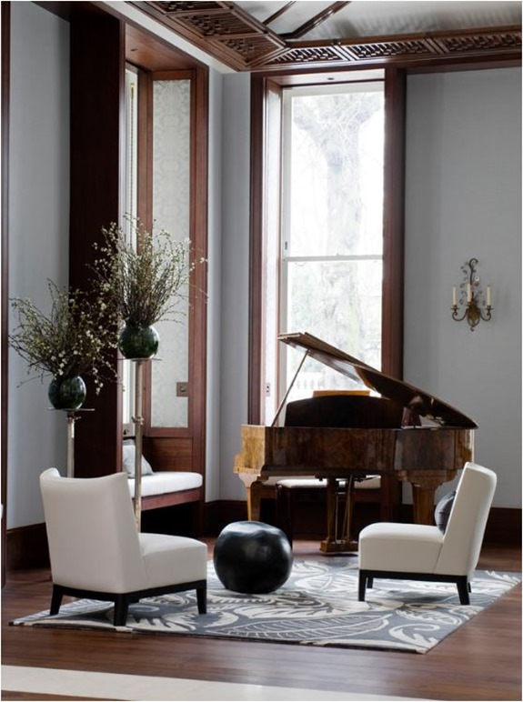 burled wood baby grand piano