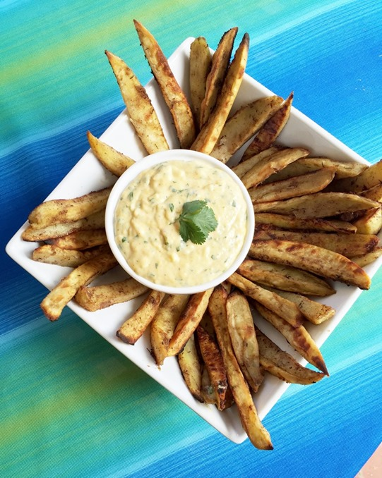 caribean sweet potato fries with mango dipping sauce