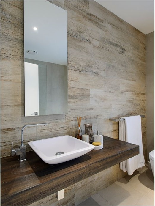 floating wood vanity wood look tile