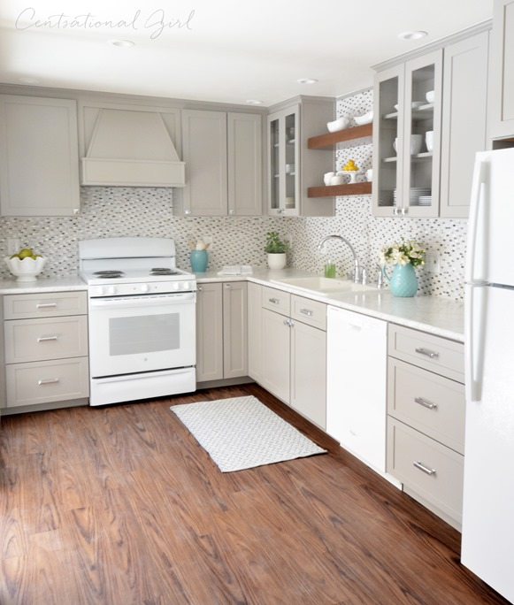 Grey kitchen cabinets and white appliances for Grey and white kitchen cabinets